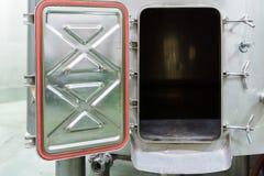 Wine Making Equipment, view of open aluminium tank Royalty Free Stock Photo