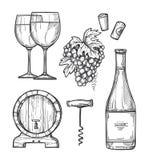 Wine making hand drawn illustrations set stock illustration