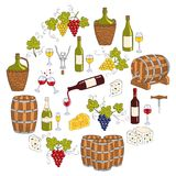 Wine and wine making set vector illustrations Stock Photo