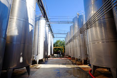 Wine making tanks industrial photography Royalty Free Stock Images