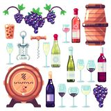 Wine making vector icons and design elements. Red and white wine bottles, drinking glass, vine grapes illustration stock illustration