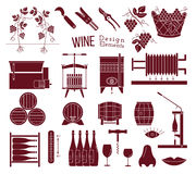 Wine making and wine tasting design elements Royalty Free Stock Images