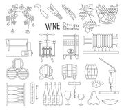 Wine making and wine tasting design elements. Mega collection of wine making and wine tasting process design elements in modern mono thin line style  on white Stock Image