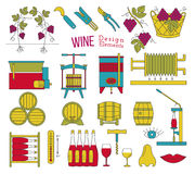Wine making and wine tasting flat design elements Royalty Free Stock Photo