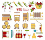 Wine making and wine tasting flat design elements. Mega collection of wine making and wine tasting process design elements in modern flat line style  on white Royalty Free Stock Photo