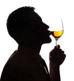 Wine. Man of silhouette giving kiss for a wine glass royalty free stock photography
