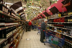 Wine market Royalty Free Stock Images