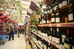 Wine market Stock Image