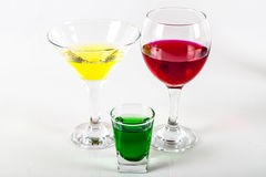 Wine, martini, absinthe liqueur. Photo of glasses with wines Royalty Free Stock Image