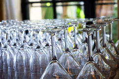 Wine and Martini Glasses. After being washed behind a hotel bar Royalty Free Stock Photos