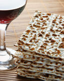 Wine and matzoh. Elements of jewish passover supper Stock Photos