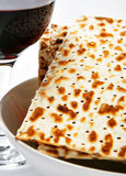 Wine and matzoh. Elements of jewish passover supper Stock Images