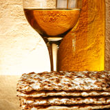 Wine and matzoh. Still-life with wine and matzoh (jewish passover bread Royalty Free Stock Photography