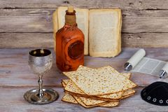 wine and matzoh Jewish holiday, Holiday symbol jewish passover bread Stock Photography