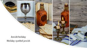 wine and matzoh Jewish holiday, Holiday symbol jewish passover bread Stock Images