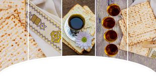 wine and matzoh Jewish holiday, Holiday symbol jewish passover bread Stock Photos