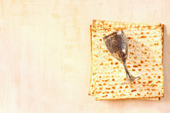 Wine and matzoh (jewish passover bread) Stock Images