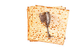 Wine and matzoh (jewish passover bread) Stock Photo