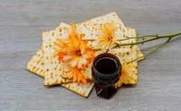 Wine and matzoh jewish passover bread  matzo Royalty Free Stock Photography