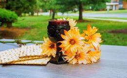 Wine and matzoh jewish passover bread  matzo Stock Photo