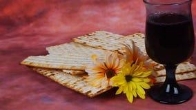 Wine and matzoh jewish passover bread Passover matzo Passover stock footage