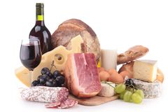 Wine,meat And Cheese Royalty Free Stock Images