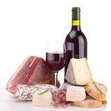 Wine,meat and cheese Royalty Free Stock Photo