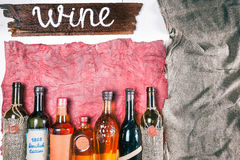 Wine menu background in rustic style Royalty Free Stock Photos