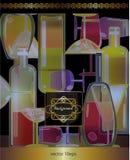 Wine menu background,stylized wine bottles and lace board Stock Photos