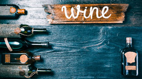 Wine menu black background Stock Photo