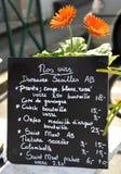 Wine menu board. Chalkboard wine menu by the glass or by a bottle in France Royalty Free Stock Photo