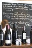 Wine and menu board at restaurant