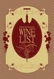Wine menu Stock Photography