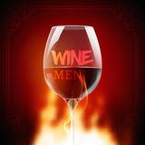 Wine menu card design template. Wine list template layout with fire on background Royalty Free Stock Photos
