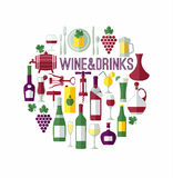 Wine menu card with icon . Stock Photos
