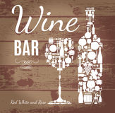 Wine menu card on wood . Royalty Free Stock Photography