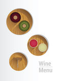 Wine menu with cut out circles showing wine crackers and corkscrew Royalty Free Stock Image