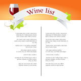 Wine Menu Royalty Free Stock Photo
