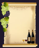 Wine menu. Elegant Drink menu card with wine glass and bottle Stock Photo