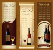 Wine menu Stock Image