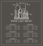 Wine menu price Stock Images