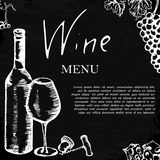 Wine menu. Retro card or flyer. Restaurant theme. Vector illustr Stock Photography