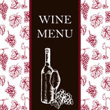 Wine menu. Retro card or flyer. Restaurant theme. Vector illustr Stock Images
