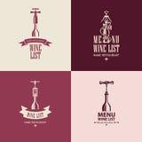 Wine menu Stock Image