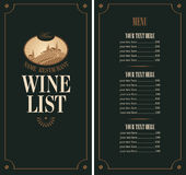 Wine menu. With vineyard scenery on a black background Stock Photos