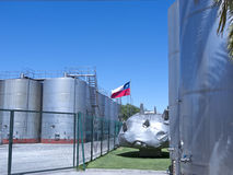 Wine metallic fermentation tanks. Chile Royalty Free Stock Image