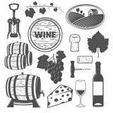 Wine Monochrome Objects Set Stock Photo