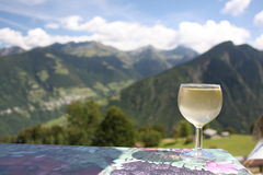 Wine and mountains Royalty Free Stock Images