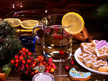 Wine mulled Christmas drink glass. Food hot gingerbread Cookie. Royalty Free Stock Photos