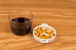Wine and nuts Royalty Free Stock Images